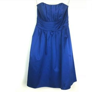 David's Bridal Dress 6 Royal Blue Strapless Pleats